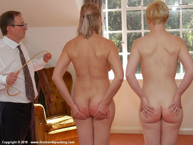 Ordered to strip naked, Belinda Lawson and doe-eyed Helen Stephens have already been caned, held on each other's back. Reform Academy's Philip Johnson decides an extra nine cane strokes each are needed, touching their toes in turn. Hot formal caning sequence with Reaction Cam and slow-motion buttock-rippling, breast bouncing replay.