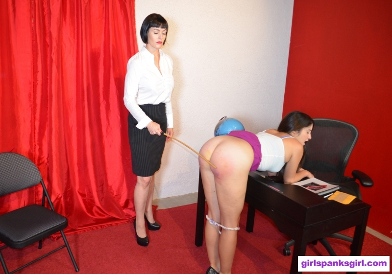 Bad Secretary Spanked Caned: First a hand spanking in the office followed by a hard bare bottom caning bent naked over her own desk