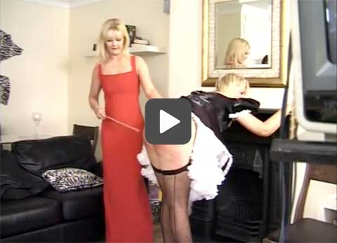 The guest's all cane the maid's bare bottom and really enjoy themselves